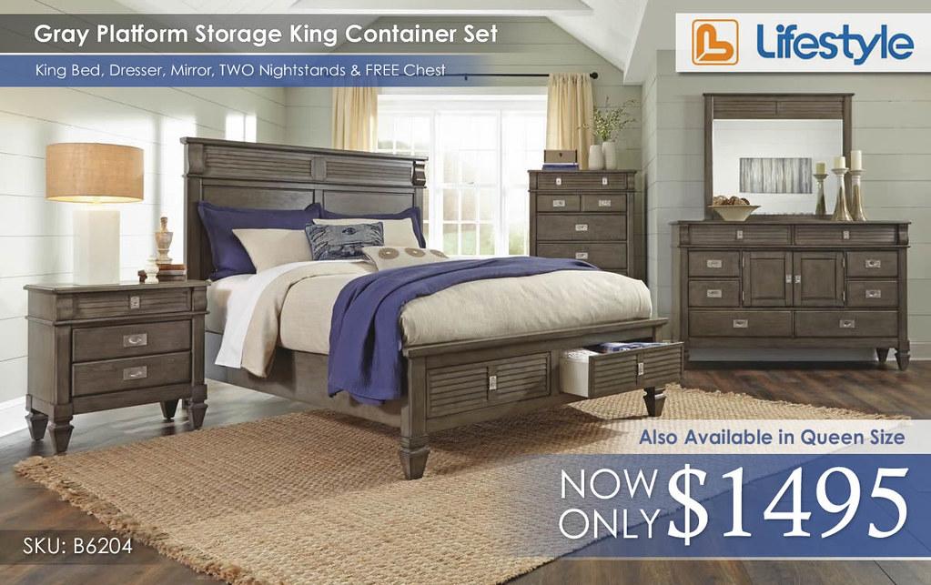 Gray Platform Storage Bedroom K B6204BR__91318
