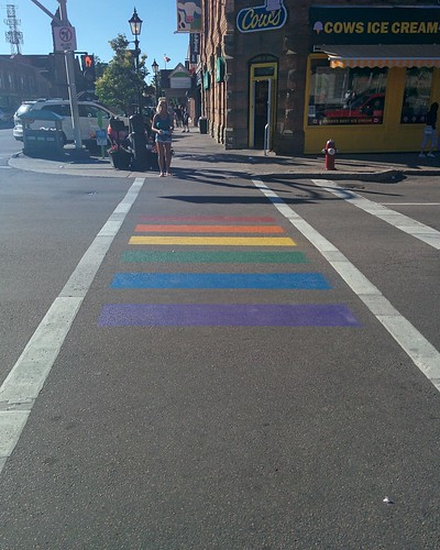 Pride rainbow crosswalk, Queen and Grafton