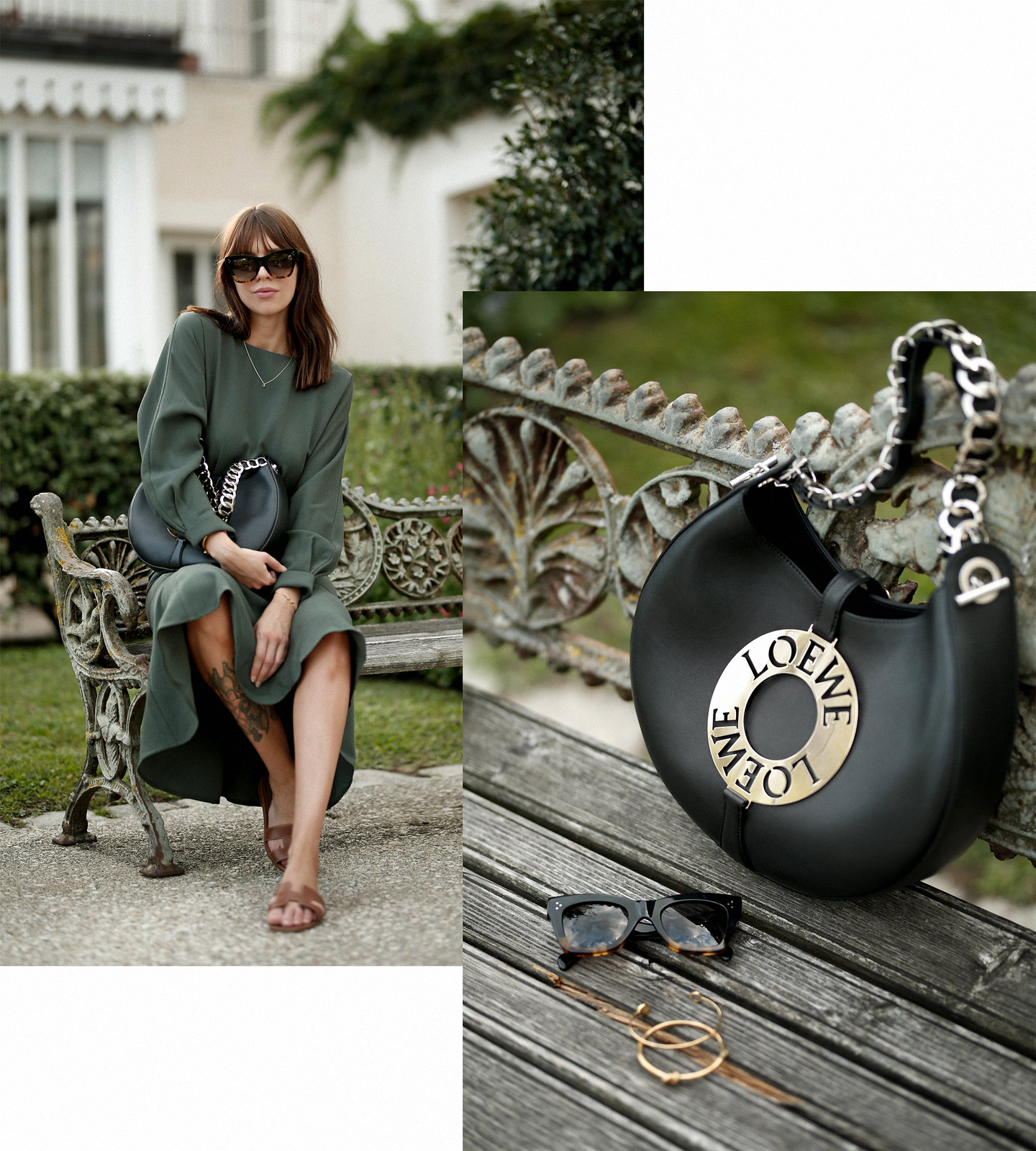 outfit green dress loewe joyce bag breuninger celine sunglasses les sources de caudalie france bordeaux late summer look going out dinner style hermes oran sandals brown minimal french chic parisienne bangs brunette france cats & dogs fashion blogger 2