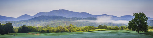 appalachianmountains peak mountains forest woods trees golf bunker hills misty hazy haze blue sky clouds fog landscape panorama
