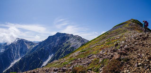 白馬三山を眺めながら小蓮華山へ