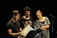 Antoine Pierre, Ben Van Gelder and Veronika Harcsa preparing for NextApe at théâtre Marni, 14 September 2017