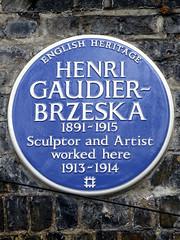 Photo of Henri Gaudier-Brzeska blue plaque
