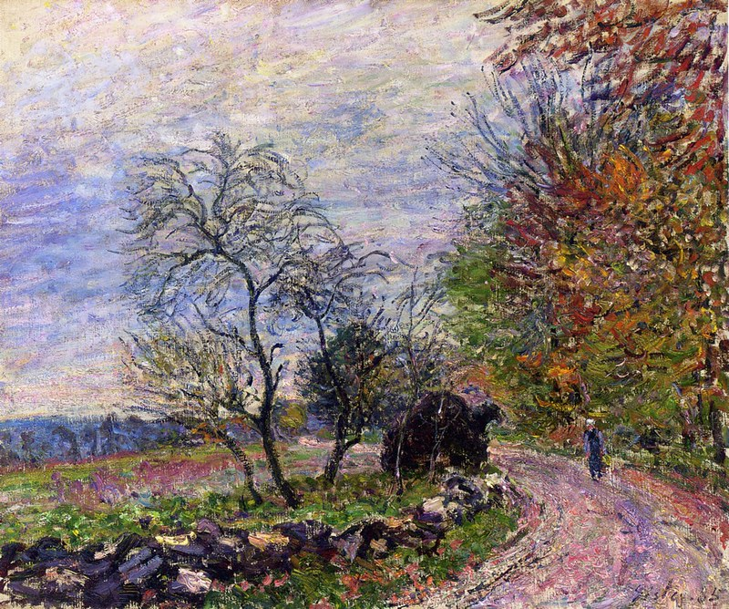 Along the woods in Autumn by Alfred Sisley, 1885