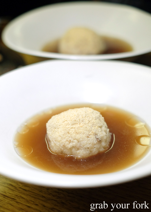Matzo ball soup at the Hungarian Jewish pop-up by Adam Wolfers at Bar Brose in Darlinghurst