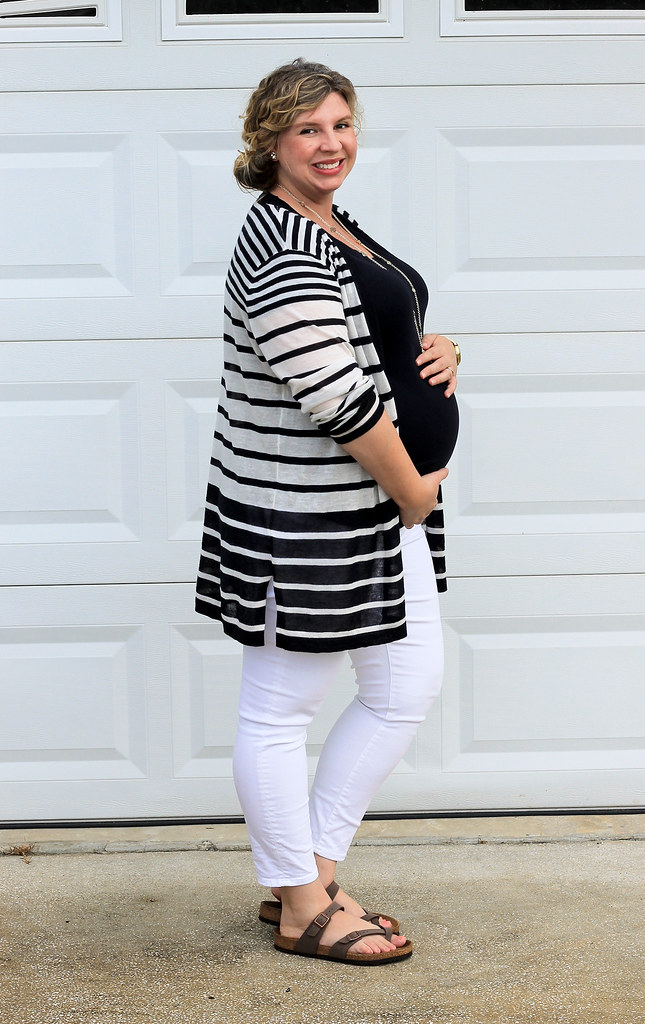 maternity white jeans, navy tee and navy stripe cardigan 3