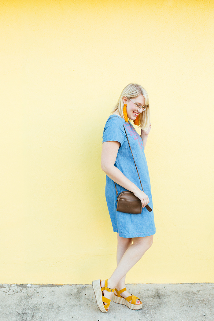 austin style blogger writes like a girl embroidered denim shift dress12