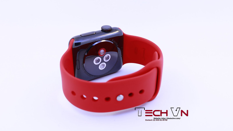 Apple watch s2 ss black with red sport band 03