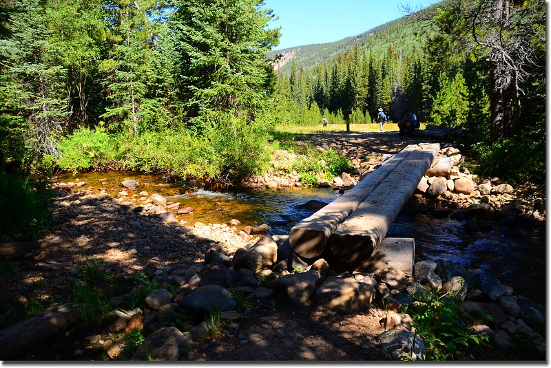 A log bridge crosses the creek