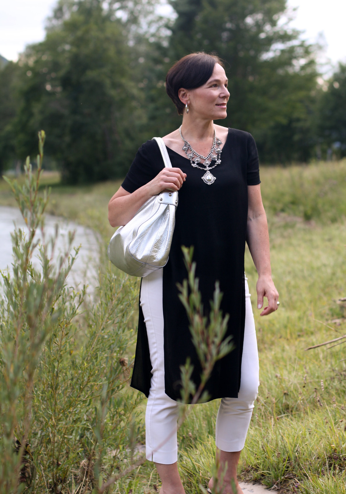 Black Tunic White Trousers Statement Necklace LadyofStyle