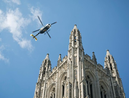 A flyover of @dukechapel honors the fallen during today's memorial of the #DukeLifeFlight crash. Our condolences to their family, friends, and colleagues.