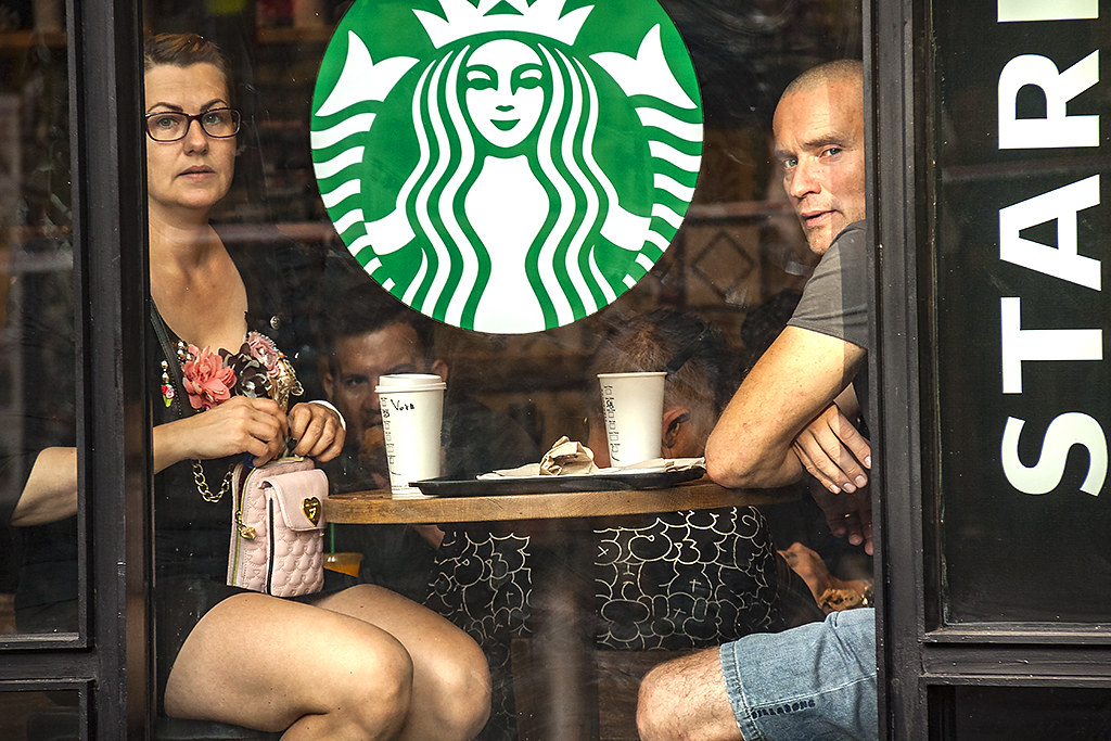 Two people in Starbucks on La Rambla--Barcelona