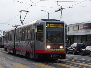 San Francisco Municipal Railway 1402 1996-2001 Breda LRV2 M OCEAN VIEW BALBOA PARK Taraval Street at 40th Avenue.