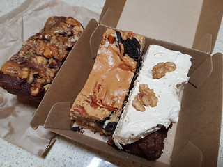 Chocolate Fudge Slice, Peanut Butter Oreo Pretzel Blondie, Carrot Cake at Bake & Burger