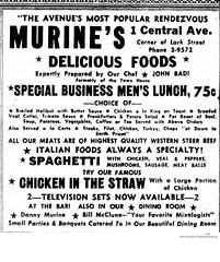 Murine's  restaurant  1 central ave  albany ny  1950