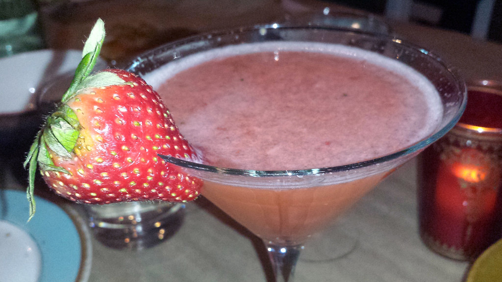 A strawberry alcohol drink from Cleo at SLS Las Vegas