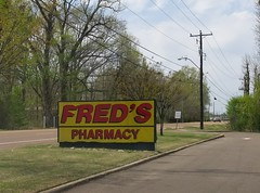 Closeup of the Arlington Fred's road (weary) sign