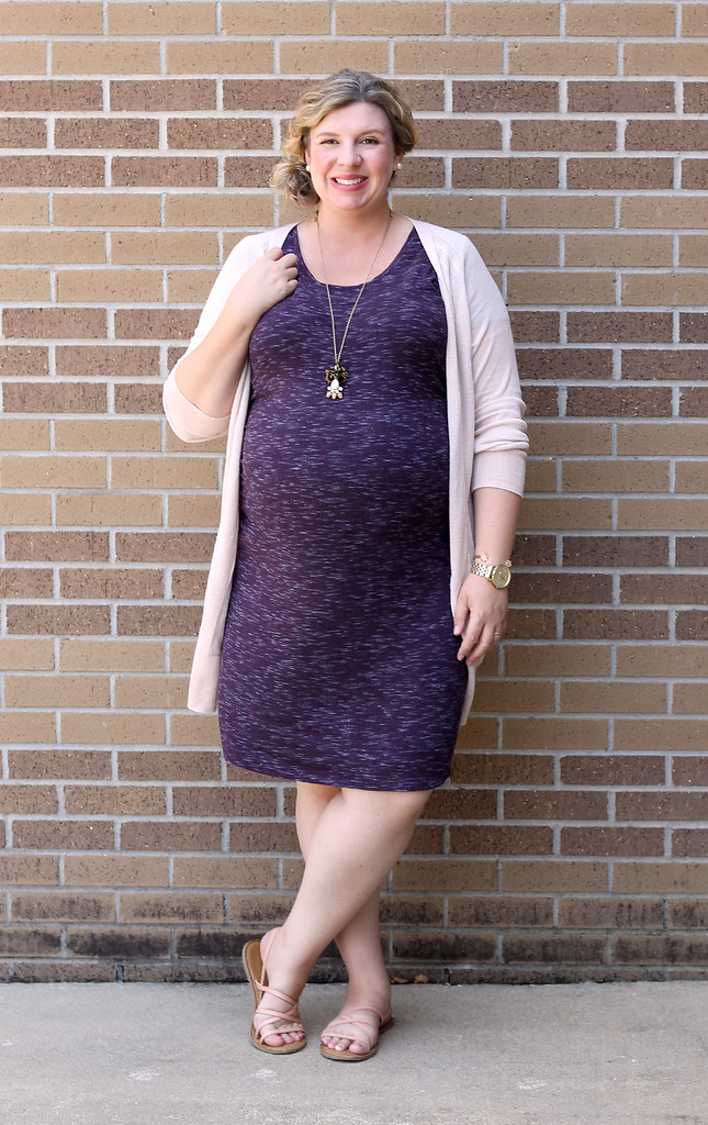 maternity purple dress, long blush cardigan 7