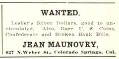 Maunovry ad NUMISMATIST Nov 1920, 536
