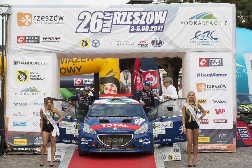 15 SUAREZ Jose Antonio (ESP) CARRERA ESTEVEZ Candido (ESP) Peugeot 208 T 16  podium during the 2017 European Rally Championship Rally Rzeszowski in Poland from August 4 to 6 - Photo Gregory Lenormand / DPPI