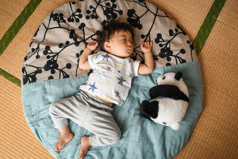 1歳の子どもが昼寝するときにも使えるせんべい座布団