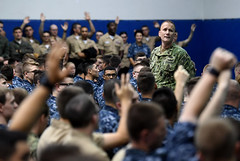 MCPON Steven S. Giordano holds an all-hands call.