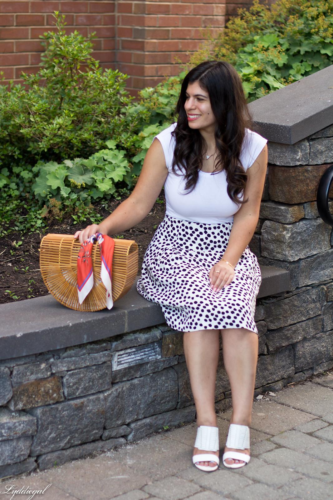 dalmatian print skirt, white bodysuit, bamboo bag-3.jpg
