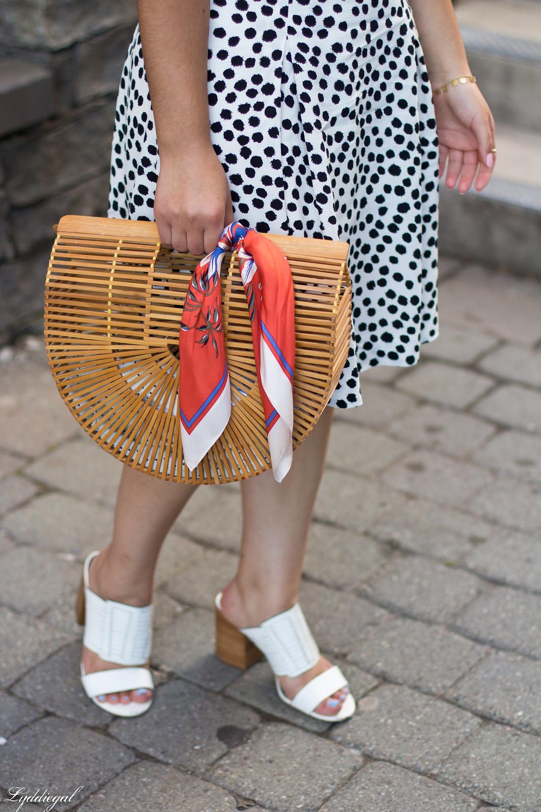 dalmatian print skirt, white bodysuit, bamboo bag-4.jpg