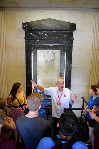 Dr. Tom Stafford leads a tour inside the Belltower during Packapalooza.