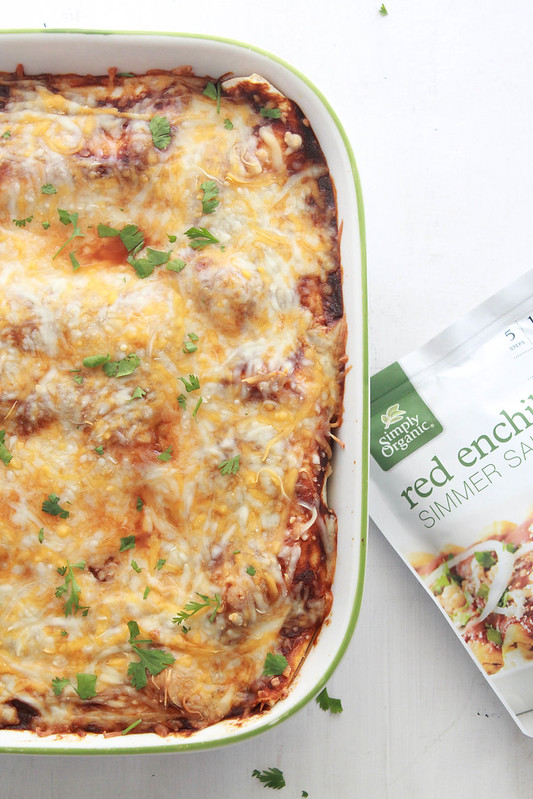 EASY RED CHICKEN ENCHILADAS