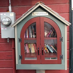 #freelittlelibrary on a #building in #downtown #coupeville #whidbeyisland #getcaughtreading #books #library #PNW #red