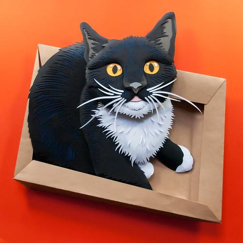 Rescue Cat Paper Sculpture by Emmanuel Jose - Clementino