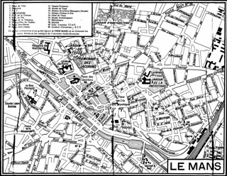 Publicity map of Le Mans town centre 1958