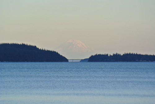Olympic Mountain Dreams day 1 - Mount Rainier looms beyond Marrowstone Island