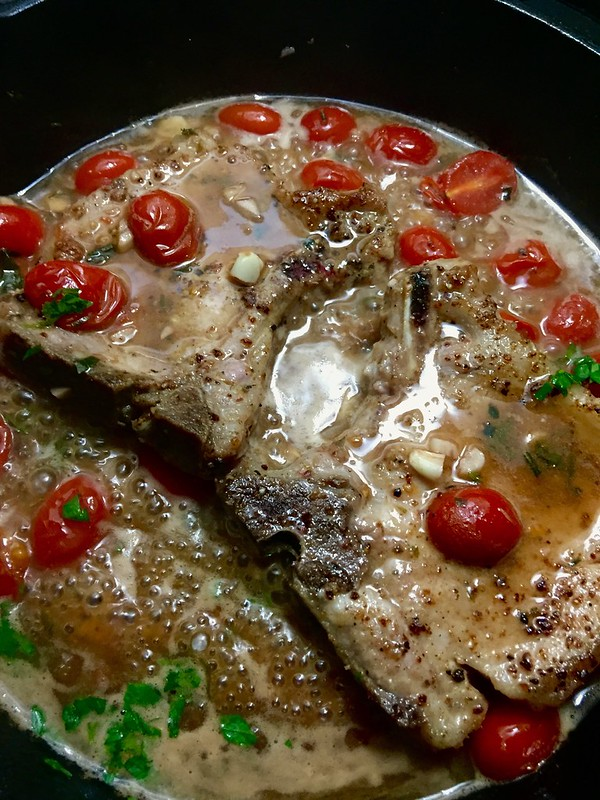 Pan Seared Pork Chops in White Wine-Garlic Sauce