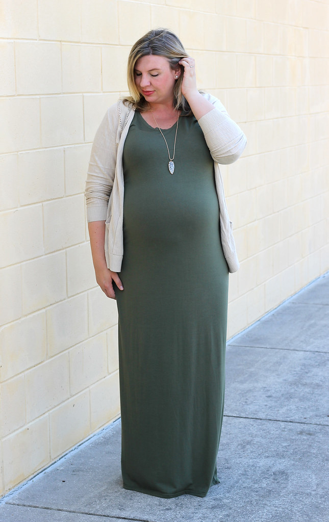 maternity olive dress, tan cardigan 2
