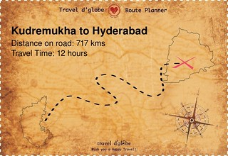 Map from Kudremukha to Hyderabad