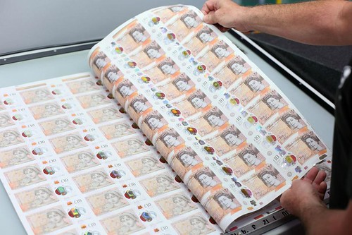 New 10 pound note sheets
