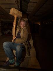 girl whit a big hammer
