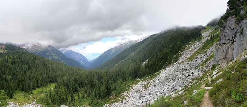 Panorama shot looking north from the Cloudy Pass Hiker Trail, the pass itself is high up on the right