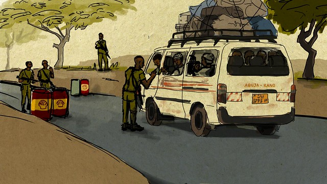 """Pauls Weg führt von Douala (Kamerun) über Nigeria und Niger bis nach Algerien. Auf diesem Weg sind diverse """"Checkpoints"""", an denen jeweils ein hoher Betrag für die Weiterreise geleistet werden muss. Zusätzlich ist der professionelle Begleiter (Schleuser) zu bezahlen, weshalb Pauls erarbeitetes Geld bereits in Algerien aufgebraucht ist."""