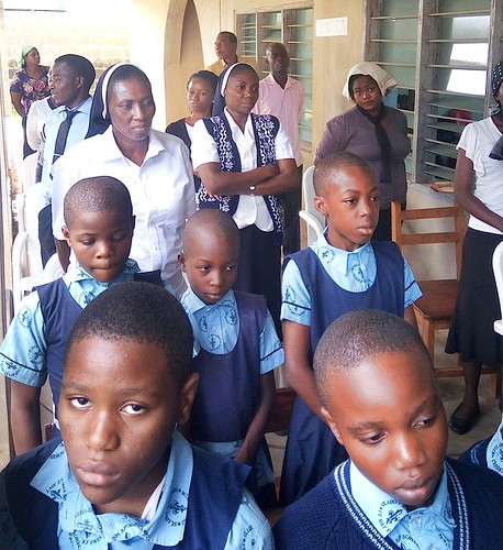 Students on their way to the term Opening Mass at St Louis NPS, Ondo. Philomena Onotevure SSL is pictured on the left and Mary Godwin SSL is pictured on the right