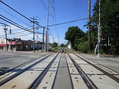 Long Island Railroad, 08/13/17: looking west towards New York City from the grade crossing just west of the Syosset station (Jackson Avenue) (IMG_5883)