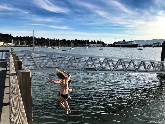 Jump in, the water's fine. #summer #swimming #friends #laughter #dock #localcustom #fun