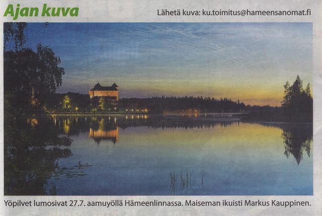 Valaisevat yöpilvet Hämeenlinnassa. Valokuvaaja: Markus Kauppinen