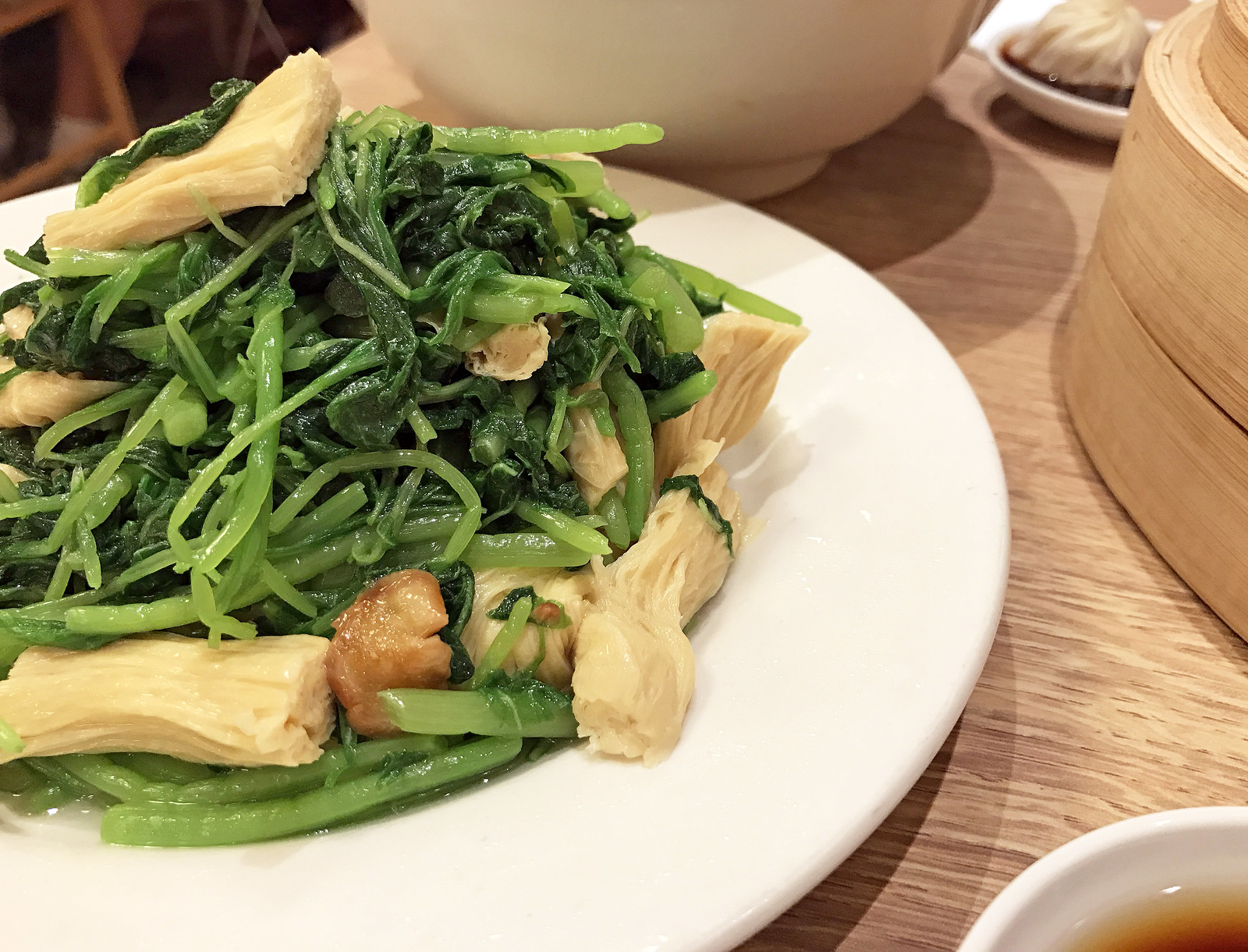 Stir-fried amaranth greens with yuba