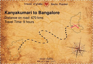 Map from Kanyakumari to Bangalore