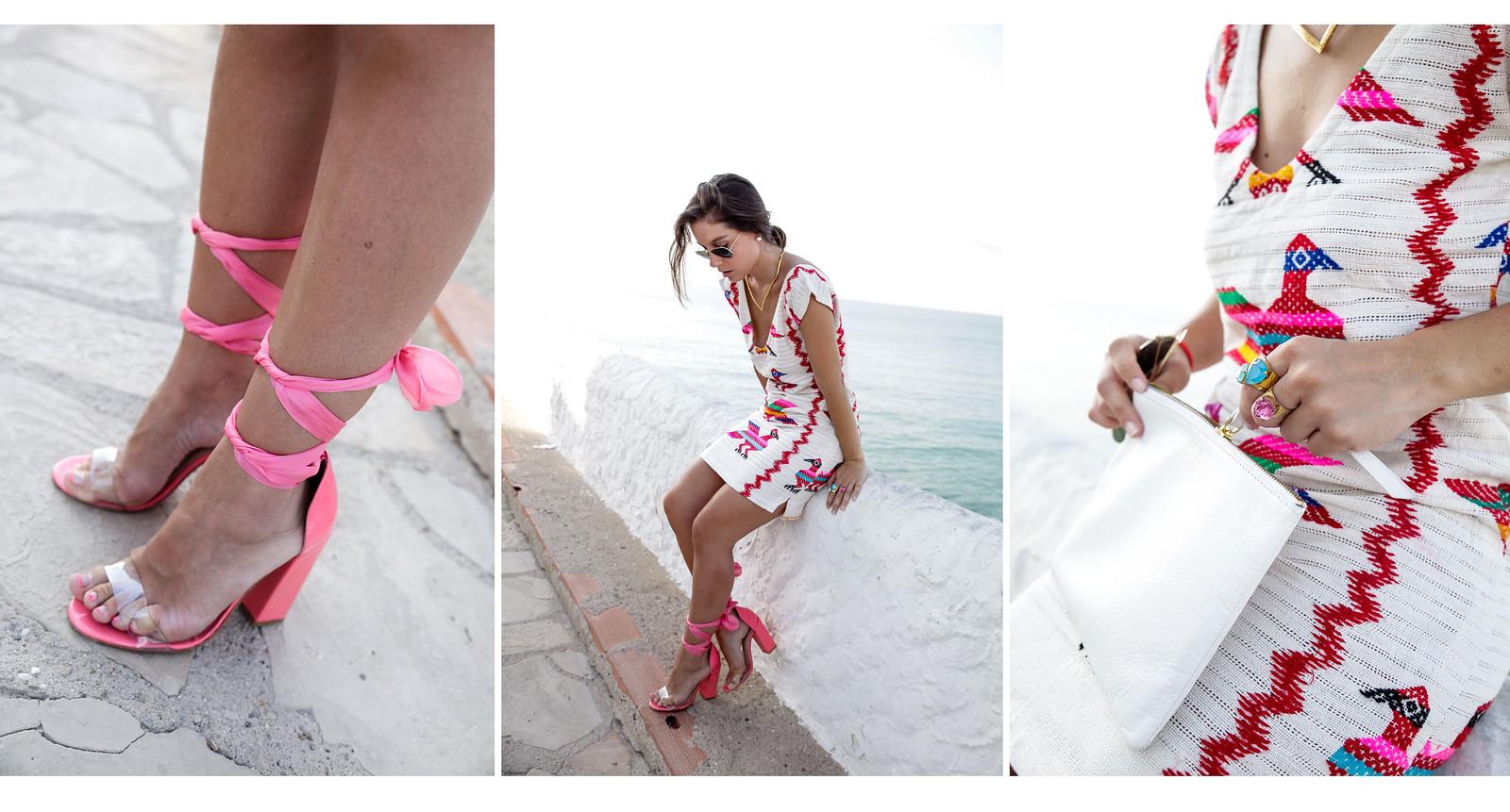 vestido boho sexy con tacones rosas theguestgirl sandalias rosas de verano con lazada de seda aloha blogger