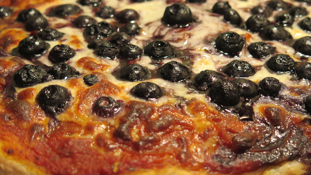 Pepperoni and blueberry pizza