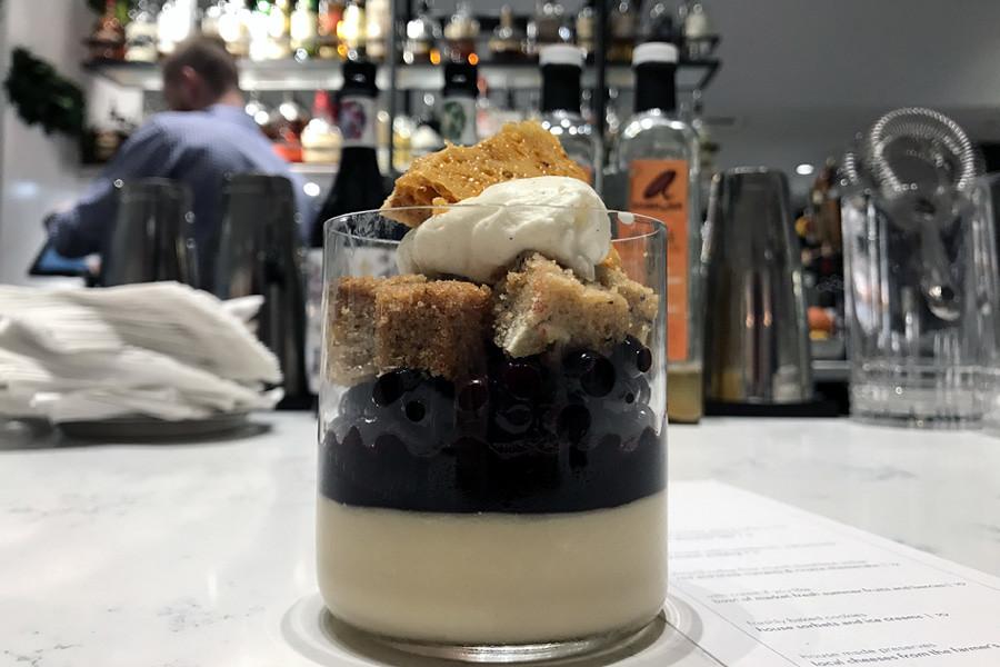Lakehouse Bellevue - Butterscotch pudding with banana bread, wild huckleberries, walnut brittle | Bellevue.com